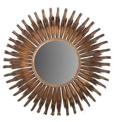 Large Round Metal Sunburst Mirror