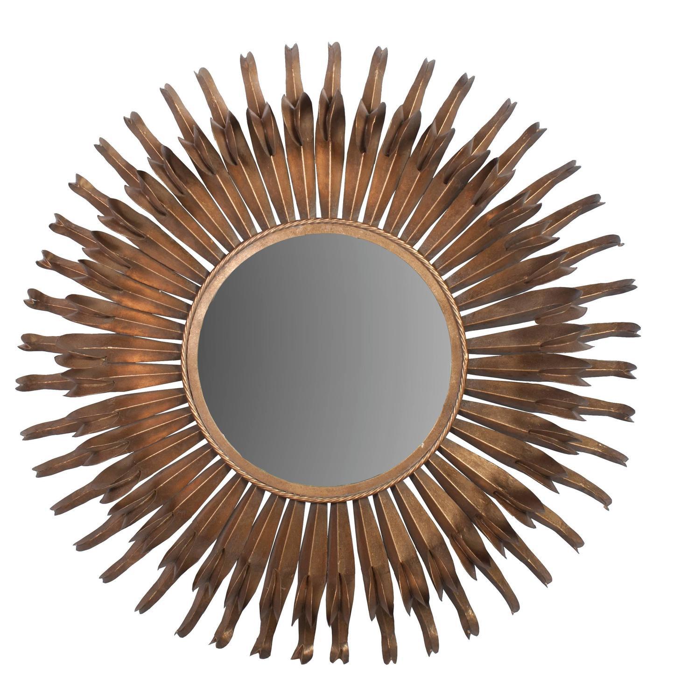 Large round metal sunburst mirror for sale at 1stdibs for Large round mirrors for sale