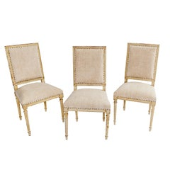 Set of Six Louis XVI Style Square Back Dining Room Chairs