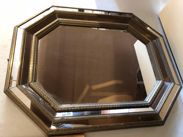 French Bronze Octagonal Shaped Mirror For Sale