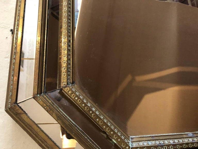 Bronze Octagonal Shaped Mirror In Excellent Condition For Sale In Washington, DC