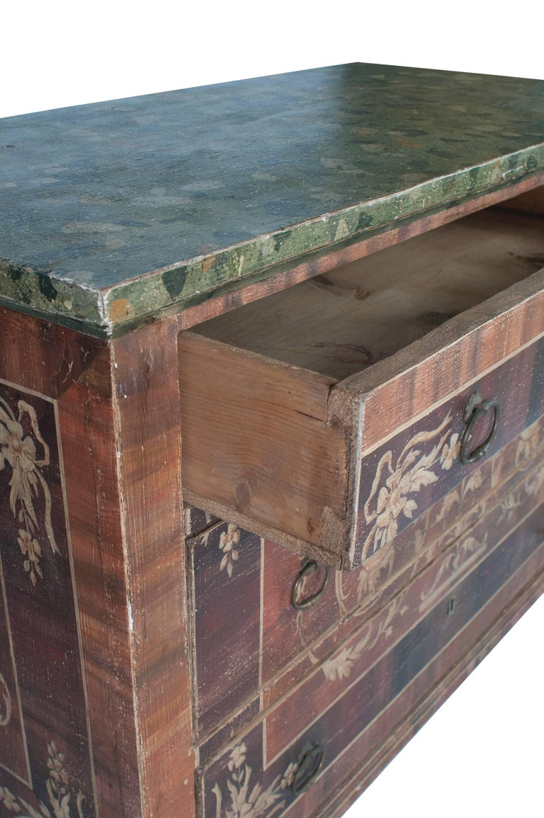 19th Century Painted Italian Commode with Faux Marble Top For Sale