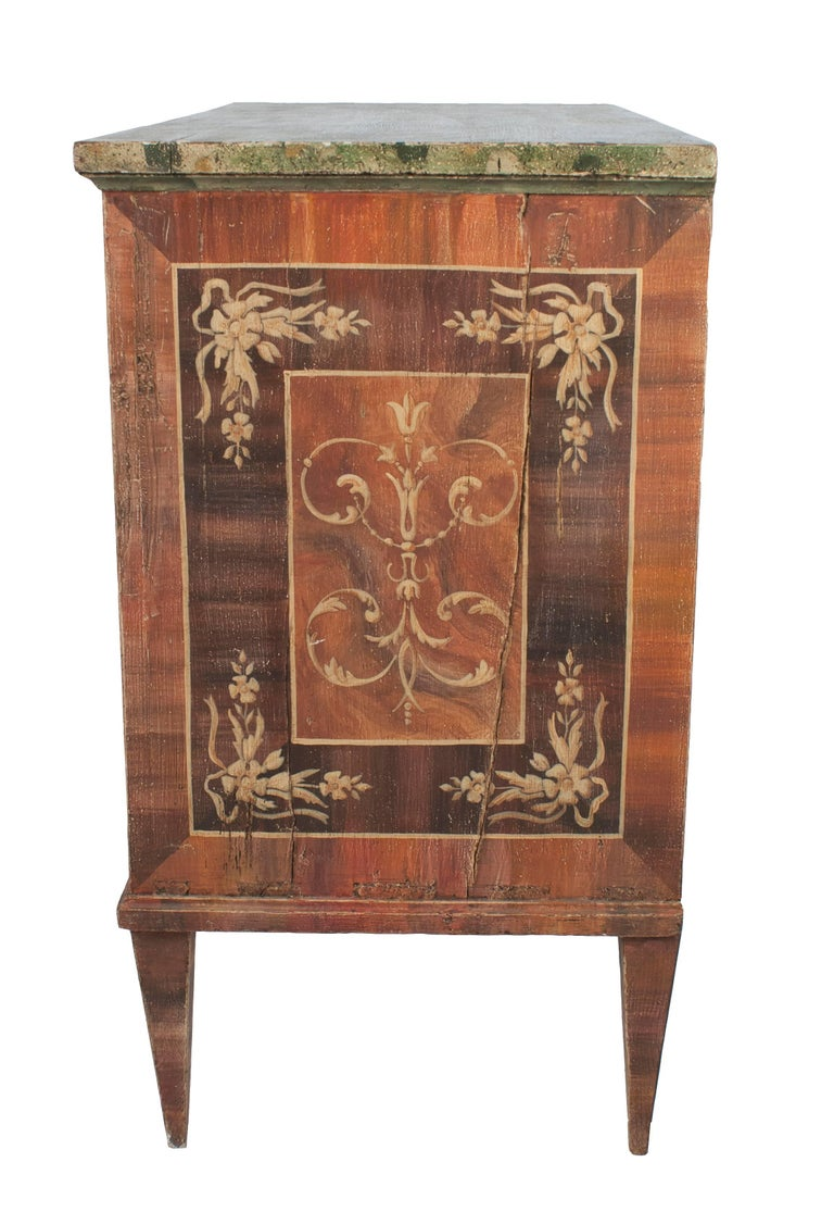 Painted Italian Commode with Faux Marble Top For Sale 1