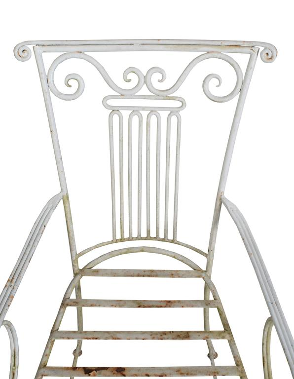 Set of Six Neoclassical Wrought Iron Garden Chairs In Good Condition For Sale In Washington, DC