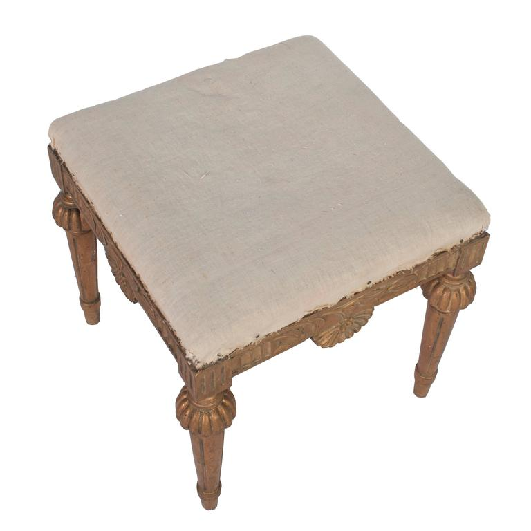 Pair of Natural Wood Gustavian Stools, Stripped to Their Natural Wood Color In Good Condition In Washington, DC