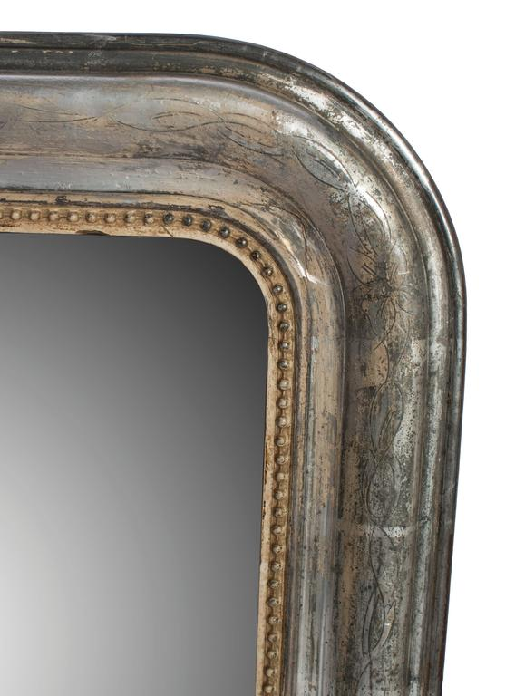 Small silver frame mirror with gold bead trim for sale at for Small silver mirror
