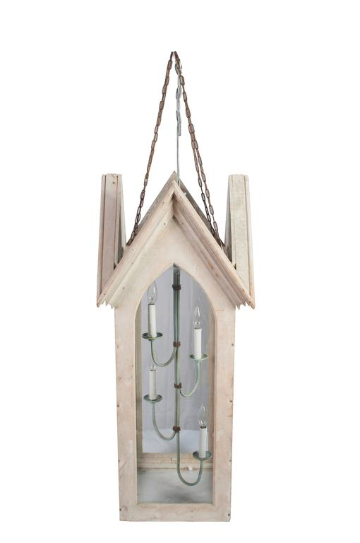 A pair of very unusual pine lime painted wooden Gothic lanterns. Glass to either side and the bottom.