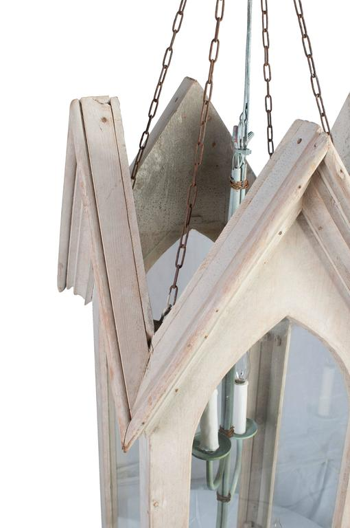 French Pair of Lime Painted Gothic Lanterns For Sale