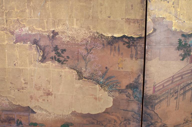 A Japanese screen with six panels.