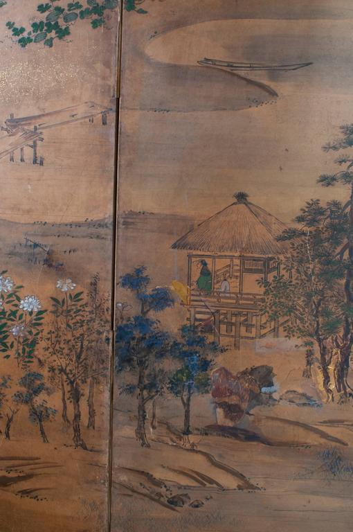 19th Century Japanese Screen - Six Panels For Sale