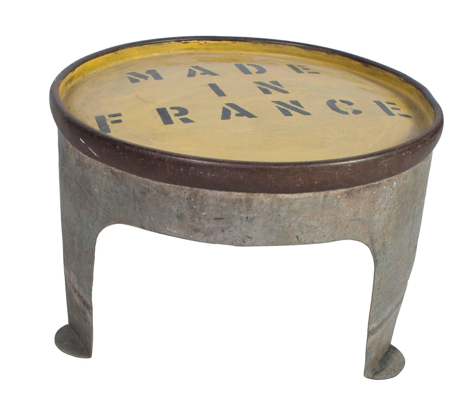 Heady Duty Iron Painted Round Coffee Table For Sale At 1stdibs