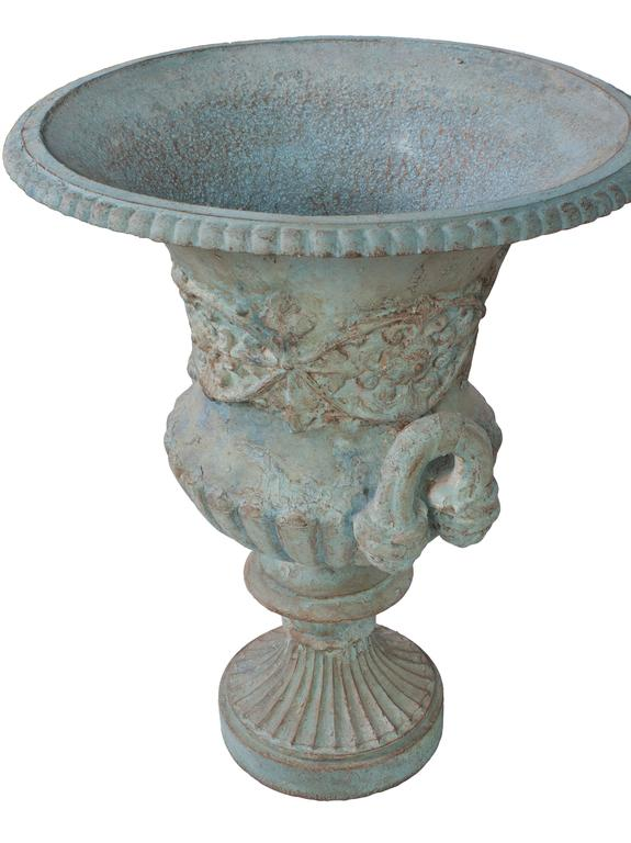 Italian Large Blue Painted Medici Urn For Sale
