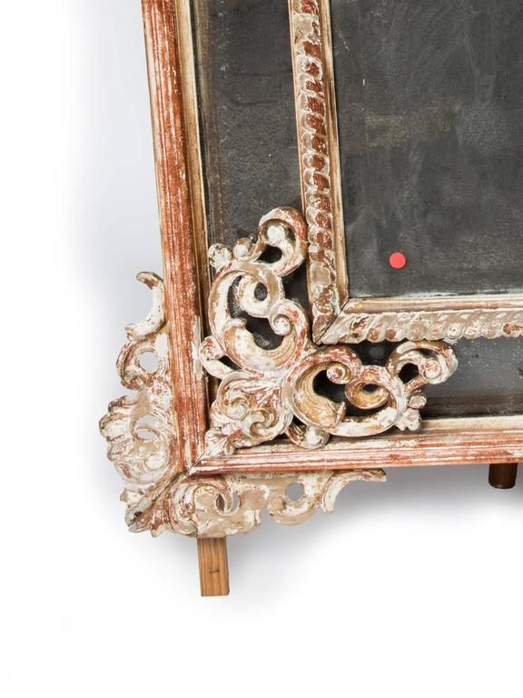 Italian Large Carved Wood Mirror For Sale