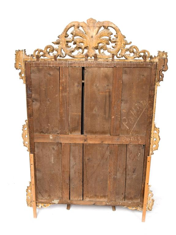 19th Century Large Carved Wood Mirror For Sale