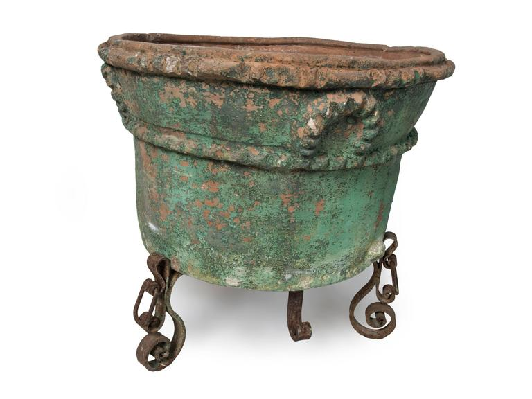 Large Painted Terra Cotta Planter with a Wrought Iron Stand In Fair Condition For Sale In Washington, DC