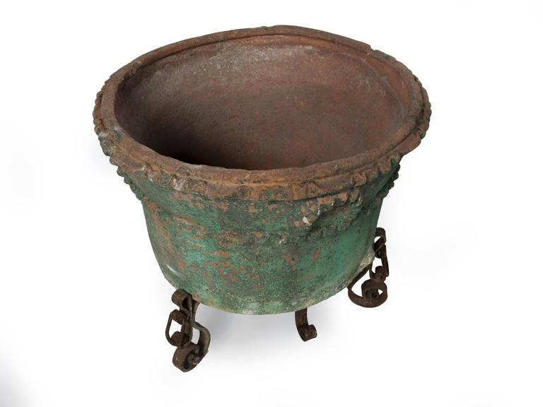19th Century Large Painted Terra Cotta Planter with a Wrought Iron Stand For Sale