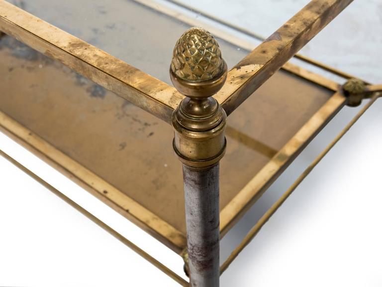Neoclassical Rectangular Brass-Plated Steel Coffee Table For Sale