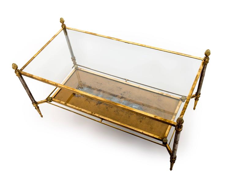 Rectangular Brass-Plated Steel Coffee Table In Good Condition For Sale In Washington, DC