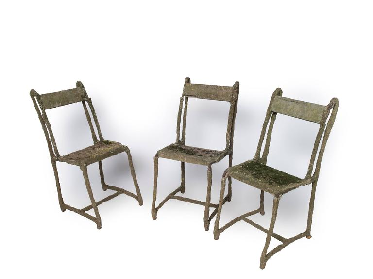 Set of Very Early Faux Bois Furniture, Three Chairs and a Table For Sale 1
