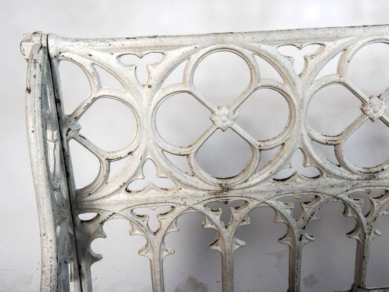 French White Painted Cast Aluminum Gothic Bench For Sale