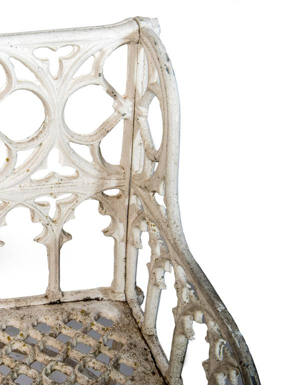 White Painted Cast Aluminum Gothic Bench In Good Condition For Sale In Washington, DC