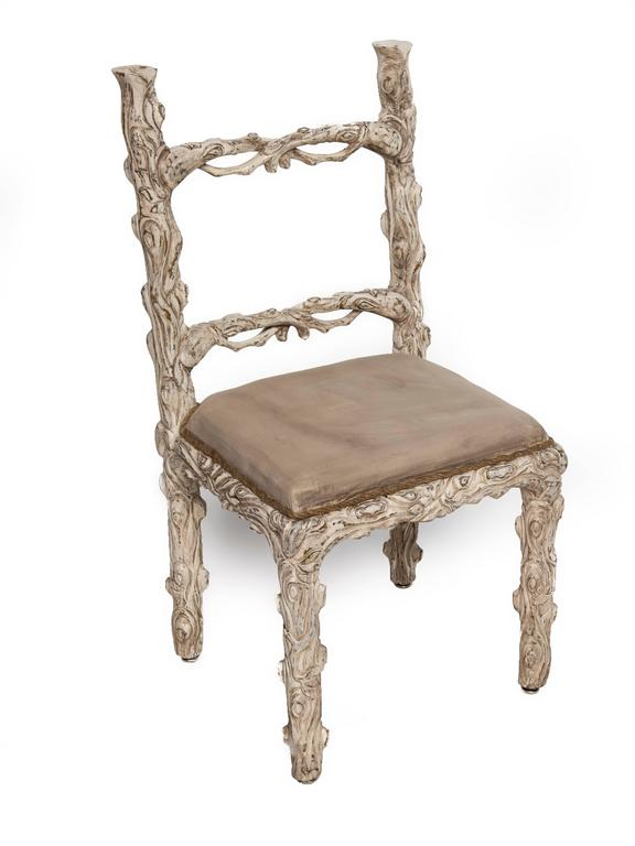 Primitive Set of Six Carved White Painted Wooden Chairs with a Faux Tree Trunk Design For Sale