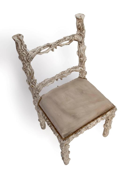 Italian Set of Six Carved White Painted Wooden Chairs with a Faux Tree Trunk Design For Sale