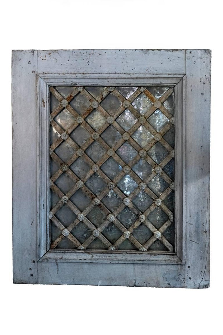 French Painted Wrought Iron Lattice Mirrored Windows For Sale