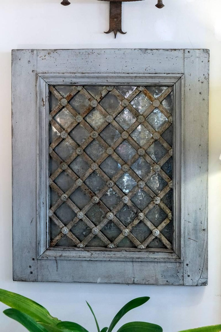 19th Century Painted Wrought Iron Lattice Mirrored Windows For Sale