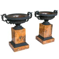 Pair of Bronze Tazzas on Marble Plinths