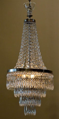 Pair of 3-Light Tent-and-Cascade Chandeliers, Circa:1935