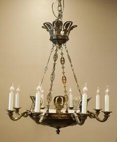 Eight-Light Empire Style Chandelier, Circa:1935