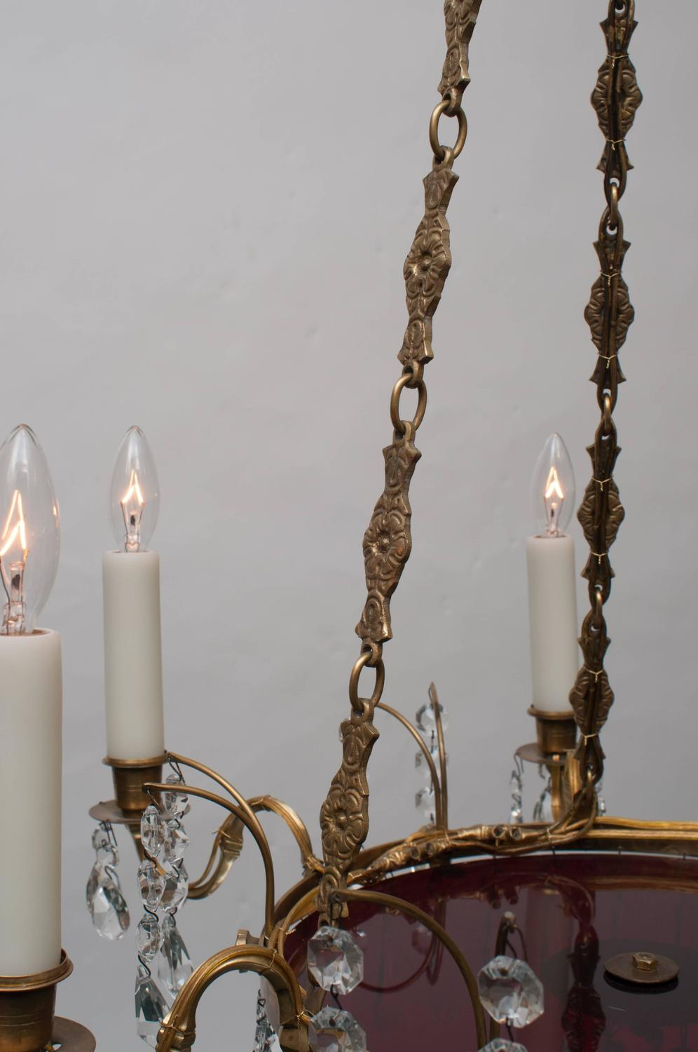 Neoclassic Style Swedish Six Light Brass And Crystal