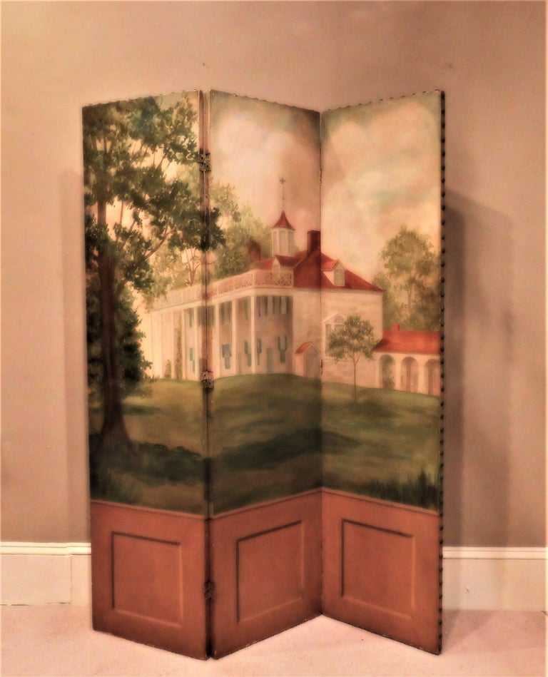 The screen was probably painted in the Washington, DC area. It is a depiction of Mount Vernon, George and Martha Washington's Virginia plantation home, prior to the removal of the decorative balustrade on the porch roof. Oil on board with trompe