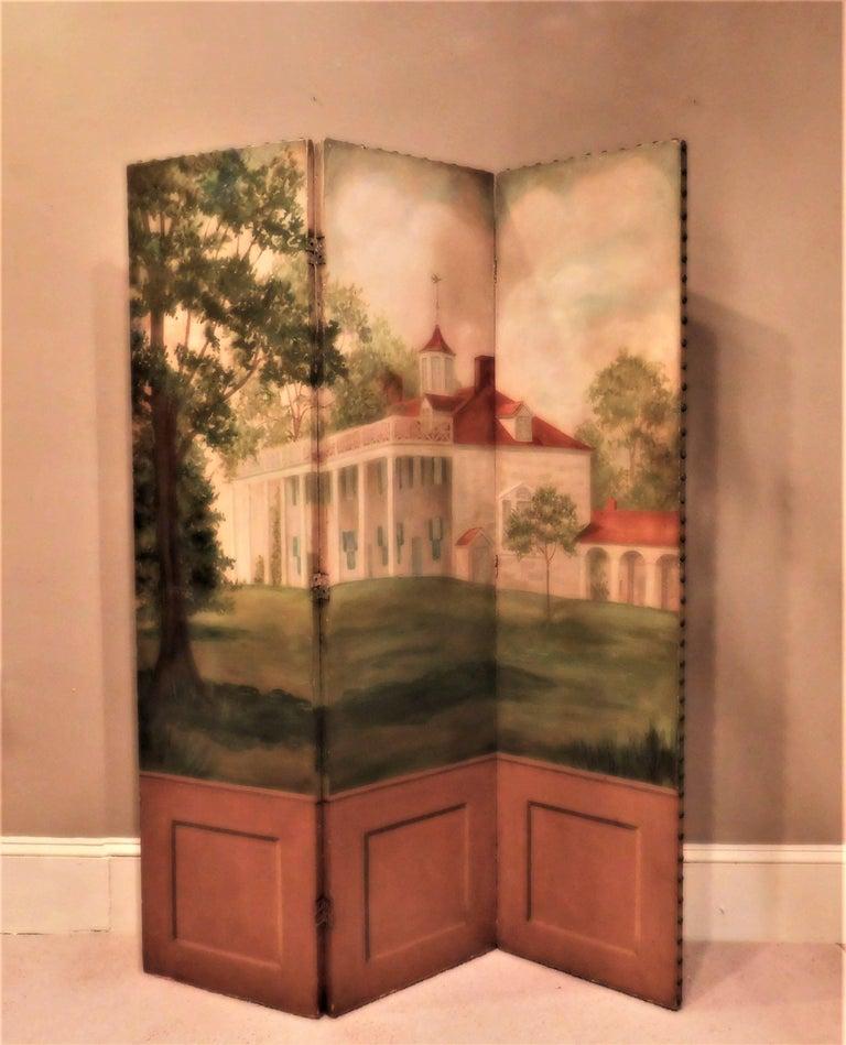 Three-Panel Folding Screen, Painting of Mount Vernon, circa 1935 2