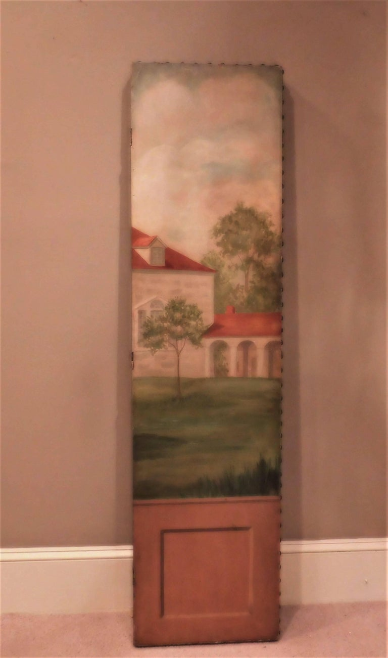 American Three-Panel Folding Screen, Painting of Mount Vernon, circa 1935 For Sale