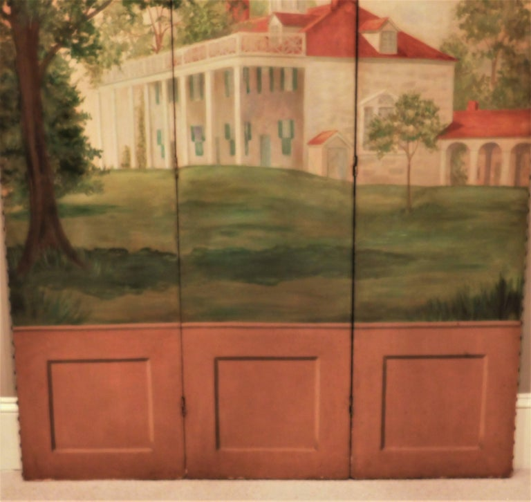 Three-Panel Folding Screen, Painting of Mount Vernon, circa 1935 In Excellent Condition For Sale In Alexandria, VA