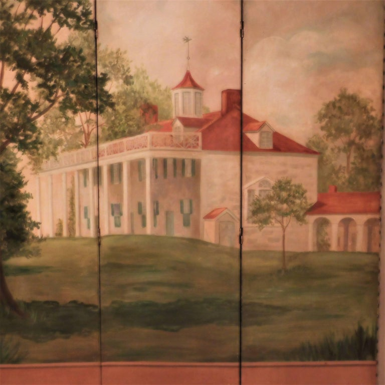 Mid-20th Century Three-Panel Folding Screen, Painting of Mount Vernon, circa 1935 For Sale