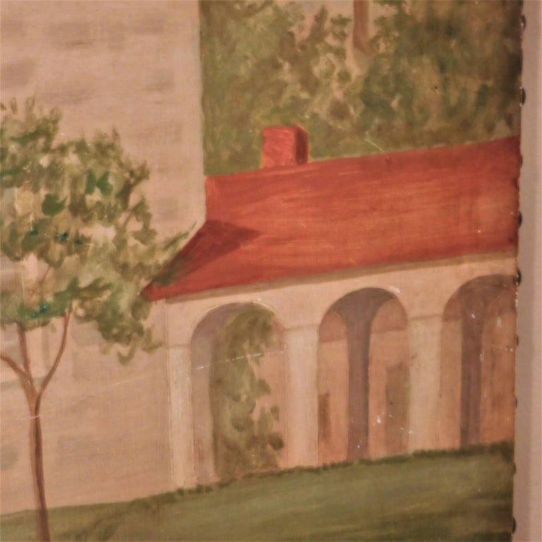 Three-Panel Folding Screen, Painting of Mount Vernon, circa 1935 For Sale 3