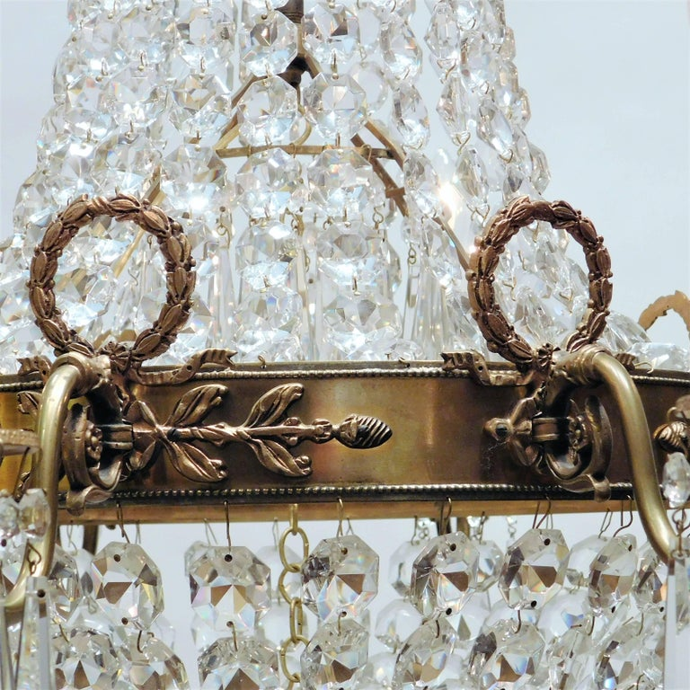 Continental Empire Style Gilt Brass And Crystal Eight