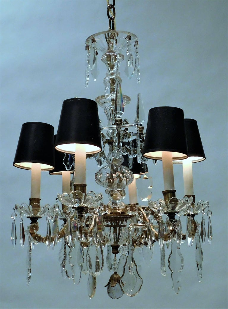 French Louis XVI Style Six-Light Bronze and Crystal Chandelier, France, circa 1890 For Sale