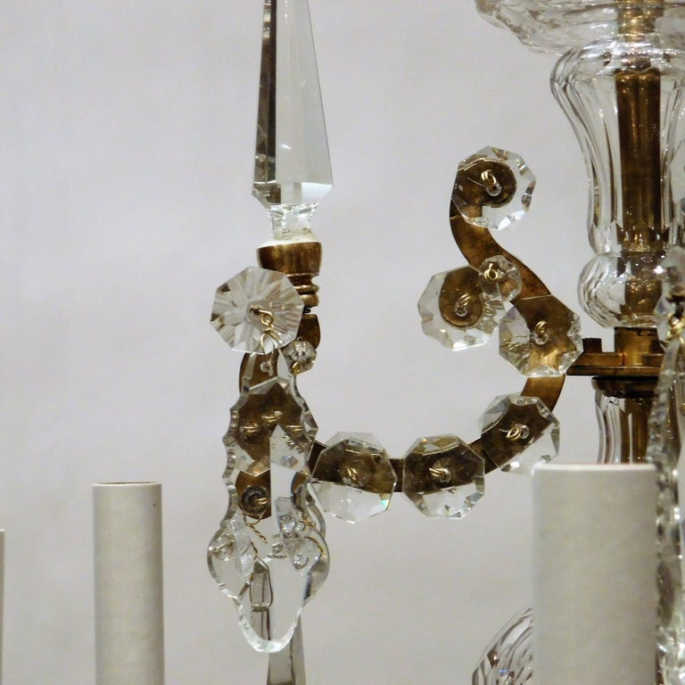 Louis XVI Style Six-Light Bronze and Crystal Chandelier, France, circa 1890 For Sale 1
