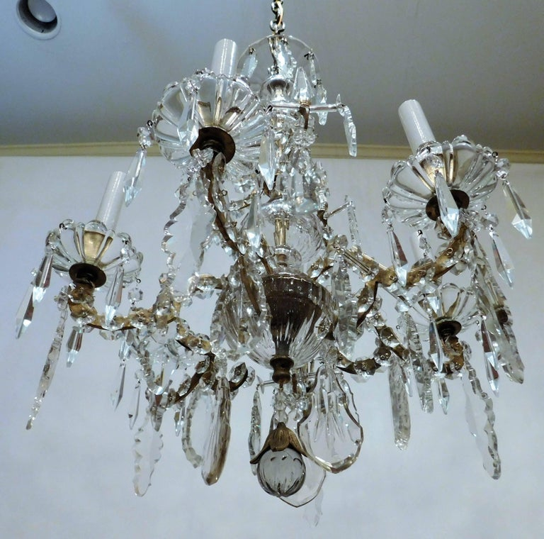 Louis XVI Style Six-Light Bronze and Crystal Chandelier, France, circa 1890 For Sale 4
