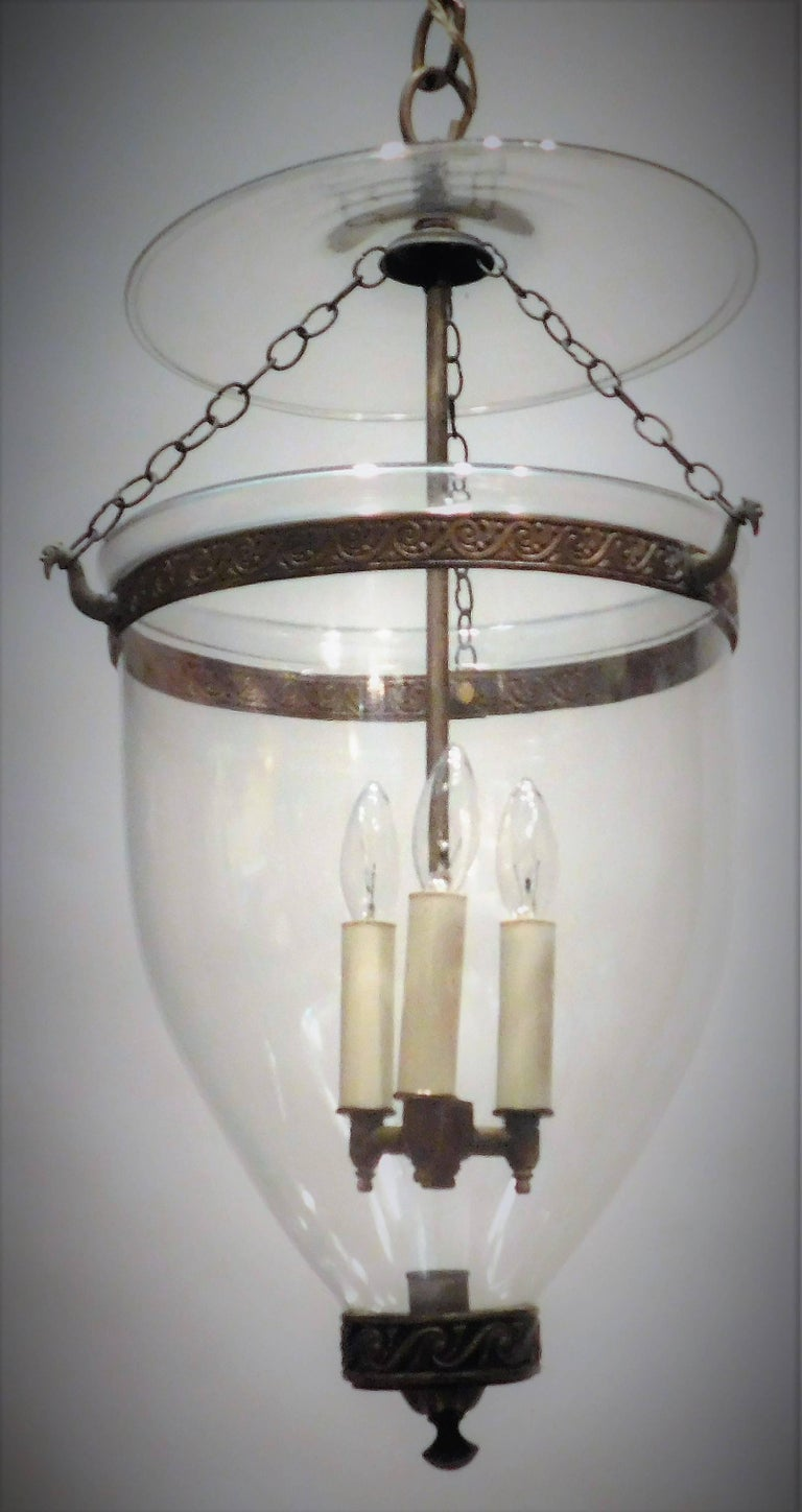 English Regency Hand-Blown Clear Bell Jar Lantern, London, circa 1790 For Sale