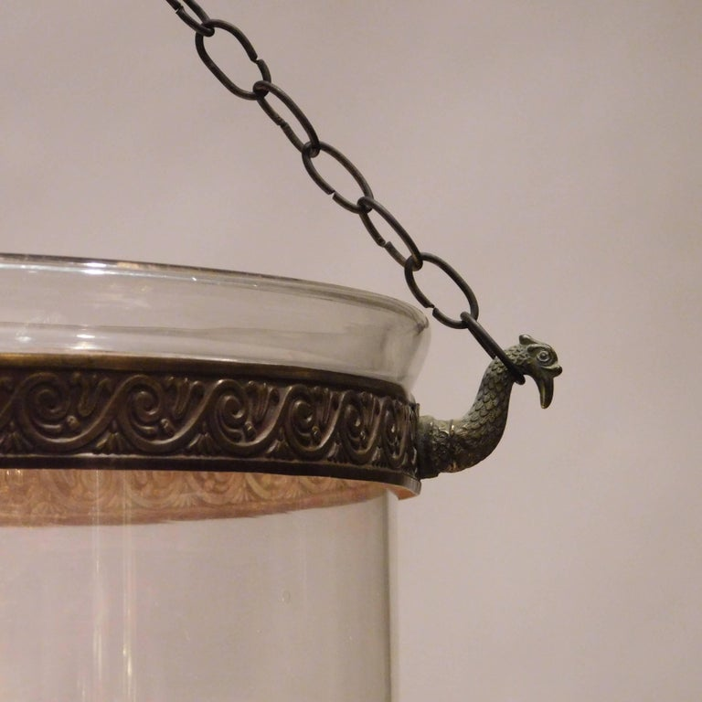 18th Century Regency Hand-Blown Clear Bell Jar Lantern, London, circa 1790 For Sale