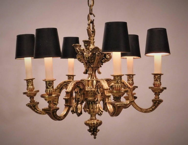 French Louis XIV Style Gilt Bronze Six-Light Chandelier, France, circa 1880 For Sale
