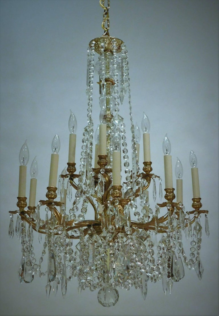 Louis XV Style Gilt Brass 15-Light Chandelier, Sweden, circa 1900 2