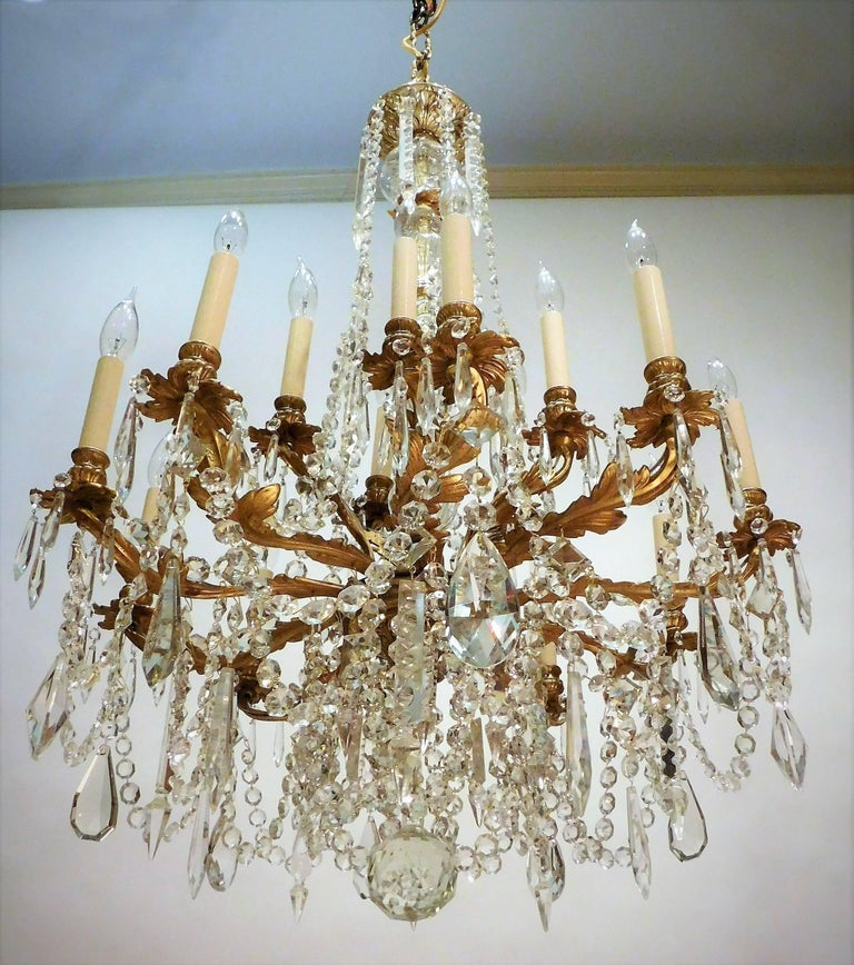 Louis XV Style Gilt Brass 15-Light Chandelier, Sweden, circa 1900 3