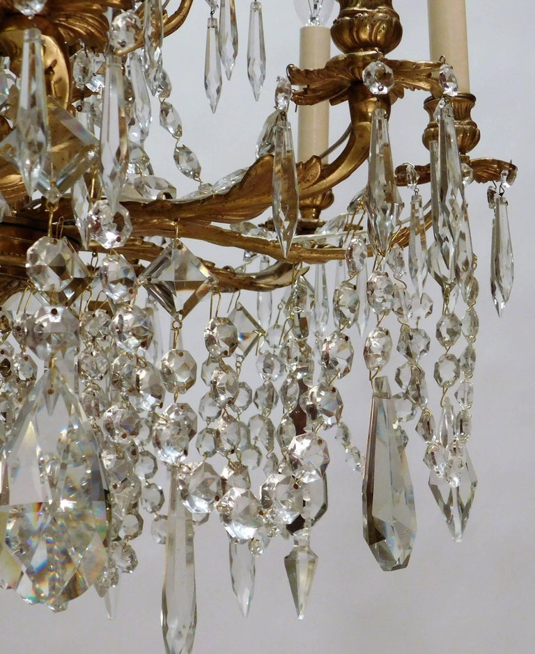 Louis XV Style Gilt Brass 15-Light Chandelier, Sweden, circa 1900 8