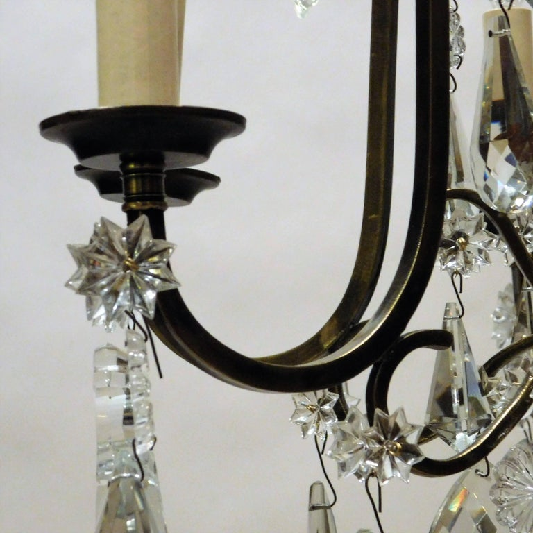 Mid-20th Century Louis XV Style Aged Brass and Crystal Six-Light Chandelier, France, circa 1930 For Sale